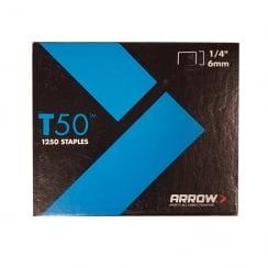 ARROW STAPLES T50 (6MM) (BOX OF 1250)