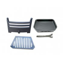 Bauhaus Fire Front, Grate and Ashpan 16 Inch Black Fire Set with Lifter