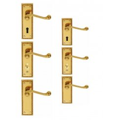 Georgian Door Handle (Latch/Lock/Bathroom) (Short Plate/Long Plate)