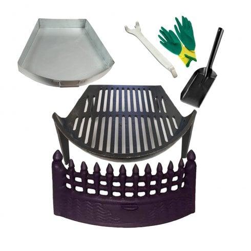 Castle Cast Iron Fire Front, Bow Grate, Ashpan & Tool Fire Set incl Gloves and Shovel