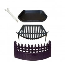 "Castle Fire Set, Fret, RT Grate, Castle Ashpan & Lifting Tool for 16"" Fireplace Openings"