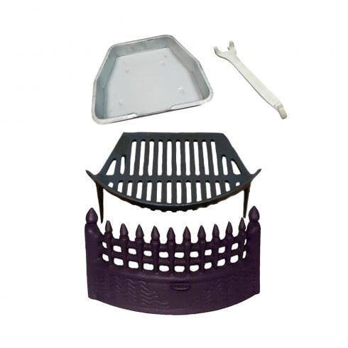 Castle Fireside Collection Cast Iron Castle Fire Front, Cast Iron Grate and Ashpan Black Fire Set Bundle