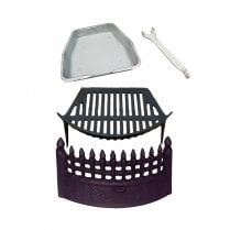 Cast Iron Castle Fire Front, Cast Iron Grate and Ashpan Black Fire Set Bundle