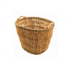 Castle Wooden Handle Log Basket