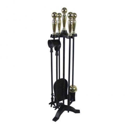 Castle Living Ball 5 Piece Companion Set Black/Brass