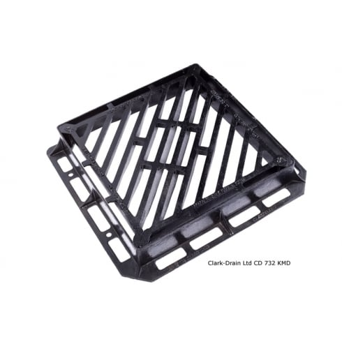 Clark Drain 600x600x100mm D400 Double Triangle Gully Grate
