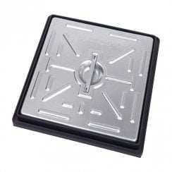 Pedestrian Manhole Cover - Galvanised Steel and PVC Frame PC2AG