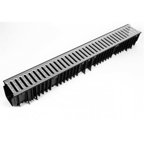 Clark Drain PVC Drainage Channel 1.0MT including Galvanised Grate