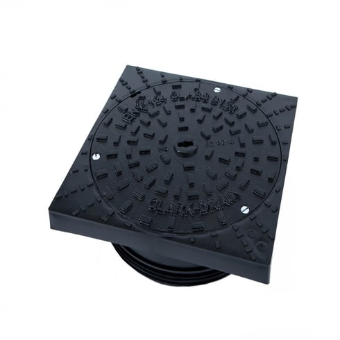 Clark Drain Square Ductile Iron Manhole Cover and Square to Round Frame CD 1649 KMB/SR