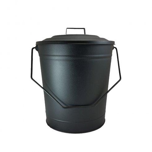 DEVILLE  COAL BUCKET METAL WITH LID BLACK