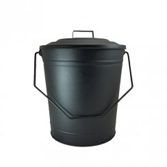 DEVILLE  COAL BUCKET METAL WITH LID BLACK