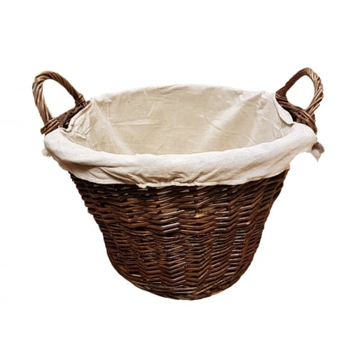 De Vielle Natural Wicker Round Basket with Removable Liner