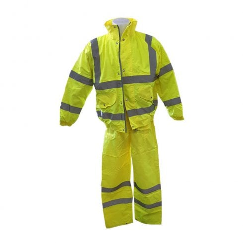 DELTAPLUS Hi-Viz Yellow Work Trousers and Quilted Bomber Jacket