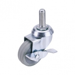 Rubber Wheeled Swivel Bolt Castors with Brake