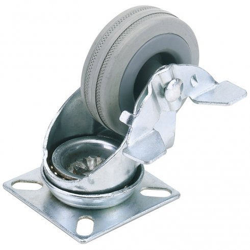 Rubber Wheeled Swivel Plate Castors with Brake
