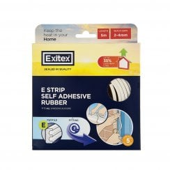 Exitex E Strip Self Adhesive Weather Sealer - 17' - White