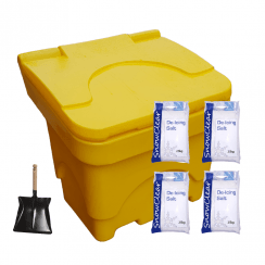 Salt Bin 150Kg plus 4x 25kgs De-Icing Salt & Shovel