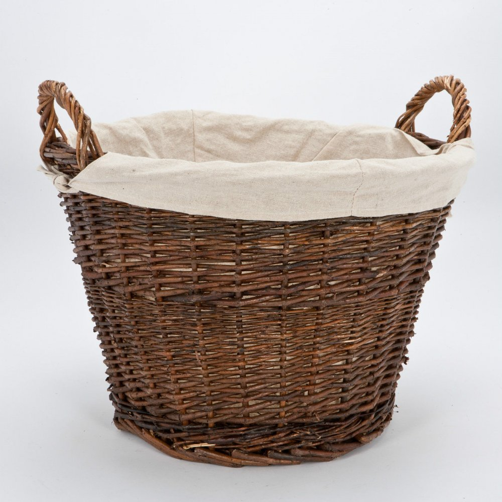 Willow Wicker Storage Basket With Liner For Home: Inglenook Wicker And Willow Log Baskets