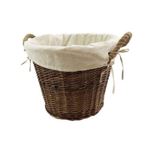 JVL Medium Round Basket with Rope Handles & Liner