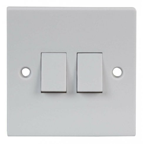 Lyvia 2 Gang 2 Way Light Switch Double Twin 2G White Plastic with Fixing Screws
