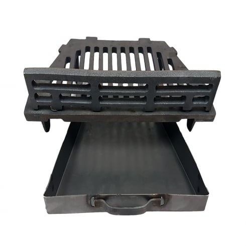 "Manor A.L.Cast Iron Fire Grate With Coal Guard and Ash Pan for 16"" Open Fireplace"