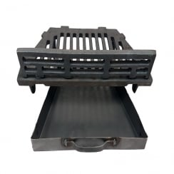 "A.L.Cast Iron Fire Grate With Coal Guard and Ash Pan for 16"" Open Fireplace"