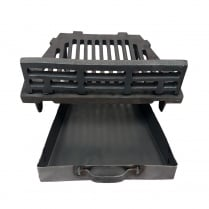 """A.L.Cast Iron Fire Grate With Coal Guard and Ash Pan for 18"""" Open Fireplace"""