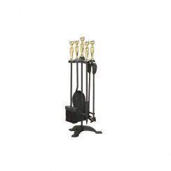 Manor Companion Set 550mm Black and Brass 1066