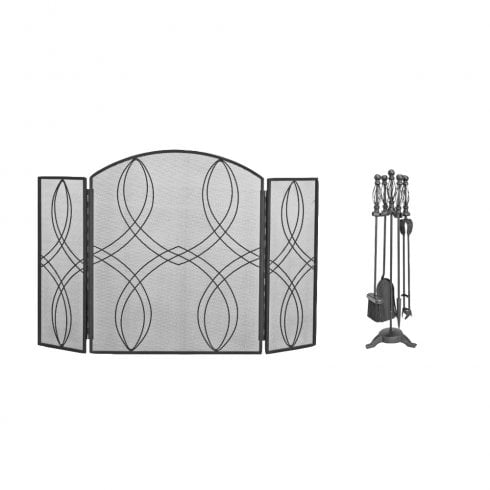 Manor Fireside Collection 3 Fold Fire Guard and Ball Cage Companion Set