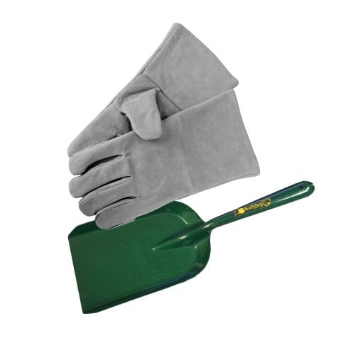 "Manor Fireside Gloves - GREY + 6"" Bulldog Premier Green Shovel"