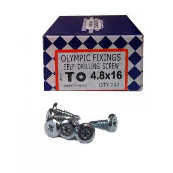 Olympic Fixings 4.8 x 16mm Wafer Head Screws (Box of 200)