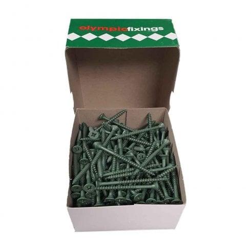 Olympic Fixings Cross Head Timber Screws - 4.5x60mm Ruspert Green (200)