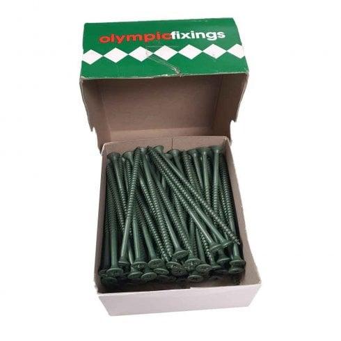 Olympic Fixings Cross Head Timber Screws - 5.0x100mm Ruspert Green (100)