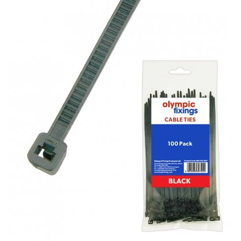 Olympic Fixings Olympic Cable Ties - Black - 450x9mm 100pc