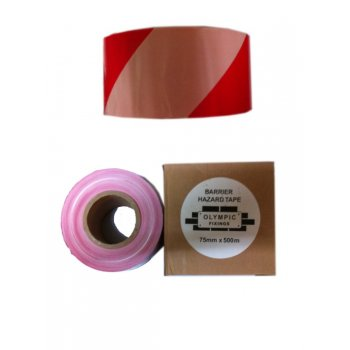 Olympic Fixings RED&WHITE WARNING TAPE 75X 500M ZEBRA