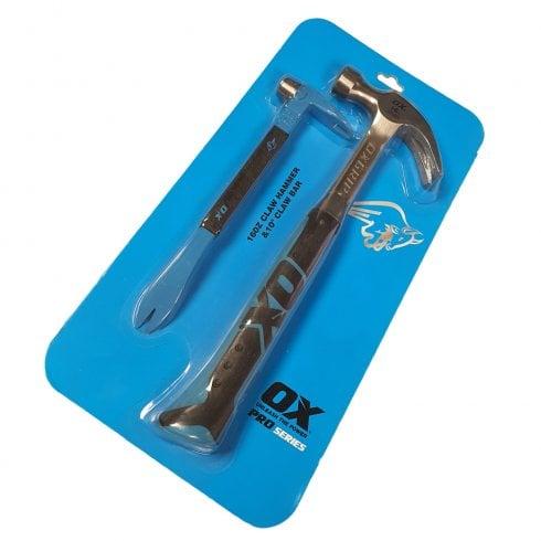 "OX Tools OX Pro Series 16oz Claw Hammer & 10"" Claw Bar Set"