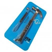 """OX Pro Series 16oz Claw Hammer & 10"""" Claw Bar Set"""