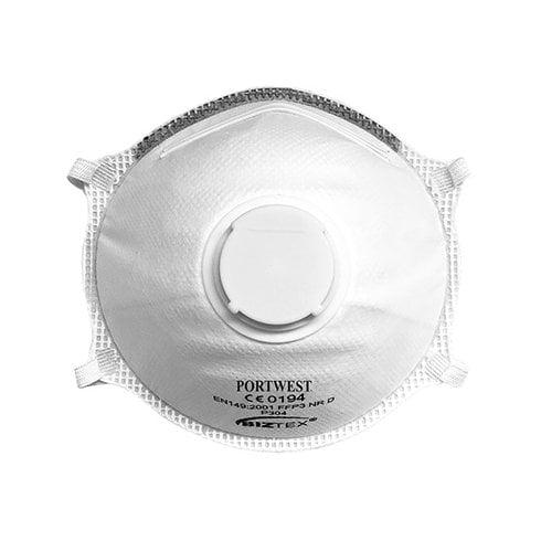 Portwest P304 - FFP3 Valved Dolomite Light Cup Respirator White - 10 pack