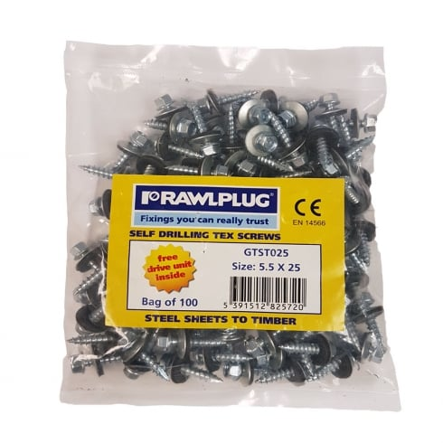 Rawlplug Self Drilling TEX SCREWS (100) STEEL TO TIMBER- (Various Sizes)