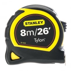 Stanley  Pocket Tylon Tape, 8 m/26 feet (25 mm) - Yellow and Black
