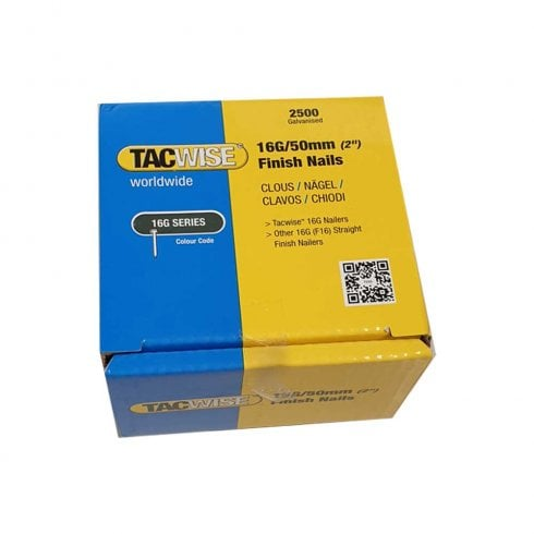 "Tacwise 16G/50mm 2"" Galvanised Finish Nail (Box of 2500) 0298"