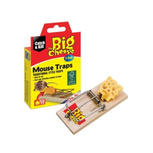 Baited Wooden Mouse Traps - 2 Pack