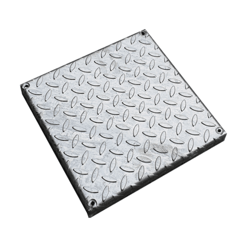 Ultra 310mm Square Galvanised Chequer Plate Cover