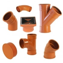 """110mm (4"""") Underground Drainage Pipes, Fittings, Junctions & Bends"""