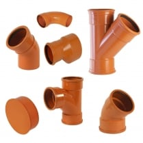 160mm Underground Drainage, Pipes, Fittings, Junctions & 160mm Bend PN-EN 1401/UD