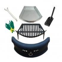 "Bowed Front Fret - Cast Iron Fire Grate Ashpan & Lifting Tool, 4"" Shovel and Gloves Set"