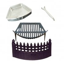 Complete Castle Fire Set - Fret, Grate, Ash Pan & Tool