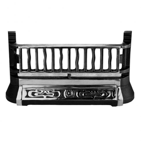 YDS Victorian / Georgian Style Fire Replacement Free Standing Fret / Front Bar / Fender in Black/Silver B26 Cast Iron