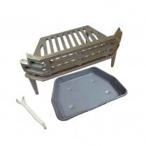 "WW/Victorian Fire Grate, Grey Ash Pan & Tool for 16"" Fireplace Opening"