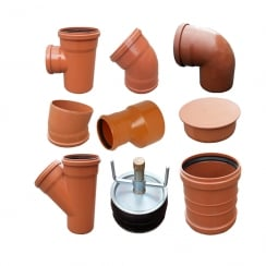 200mm Underground Drainage, Pipes, Fittings, Juctions & Bends PN-EN 1401/UD